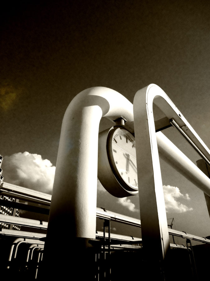 re-timing 2013 photography city abstract monochrom sepia pipeline time clock