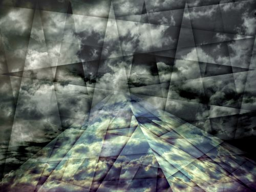 scaffold of time effect 2013 photo composing with blue and black clouds as a pyramid