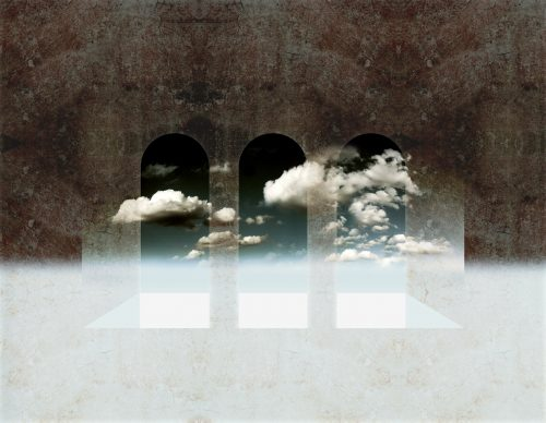 window to heaven 2013 photo composing textured with clouds and color gradient abstract
