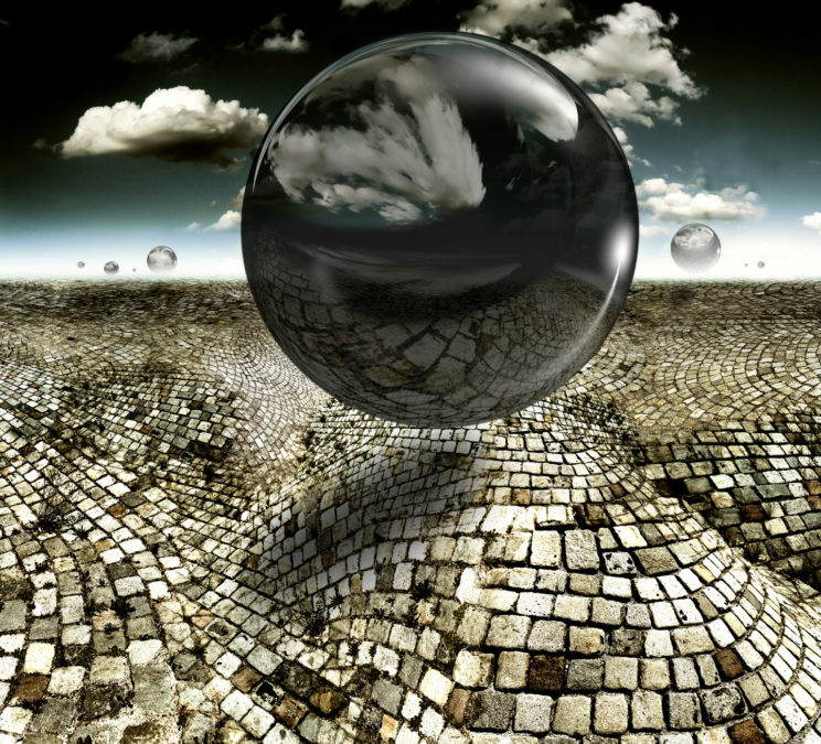 invasion mind 2018 a stone paved landscape with black spheres surreal photo composing