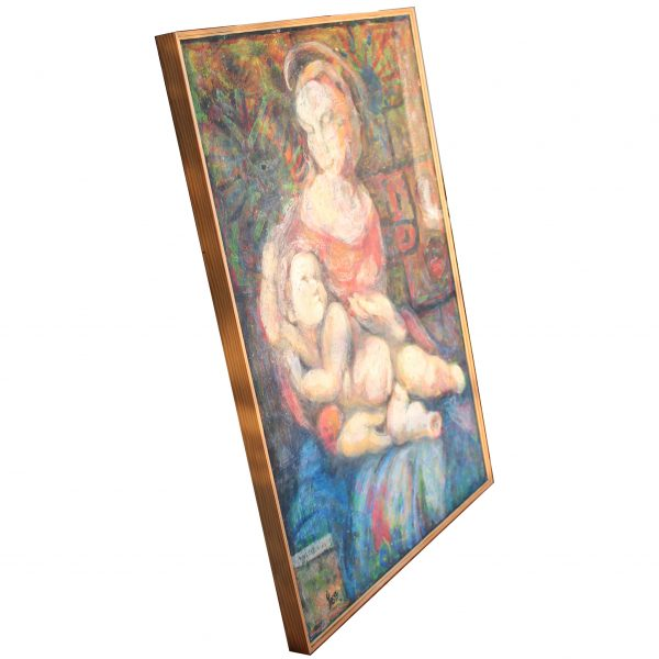 madonna with child 2013 acryl painting fiberboard abstract