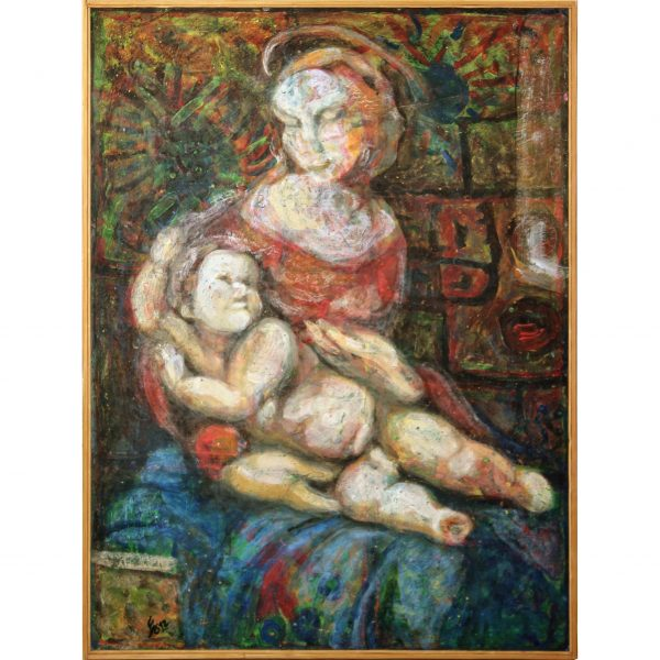 madonna with child acryl painting fiberboard abstract