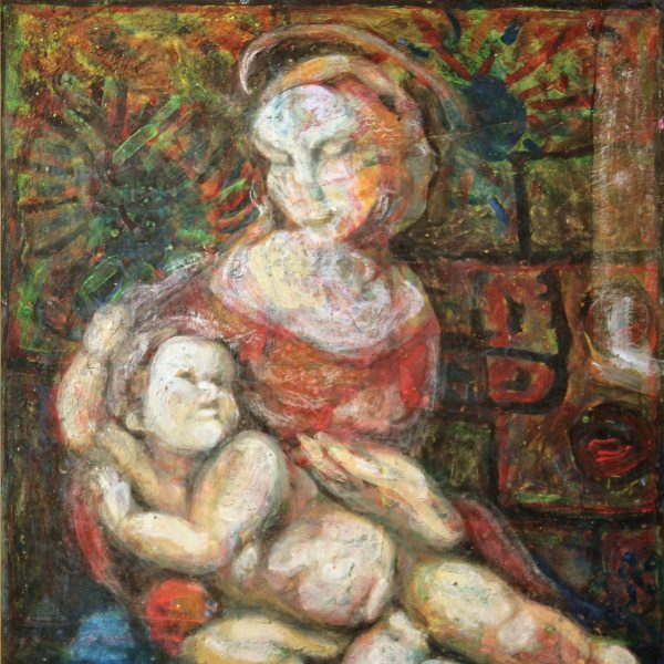 madonna with child acryl painting fiberboard abstract detail