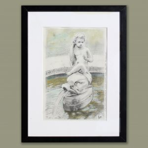 dolphin riding drawing pens frame passepartout