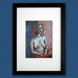 blue orange foto passepartout von oil painting portrait fotopapier