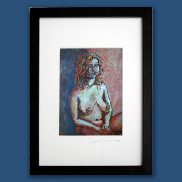blue orange foto passepartout von oil painting portrait fotopapier