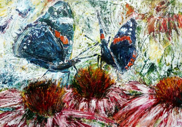 admiral butterflies filled primed acryl painting