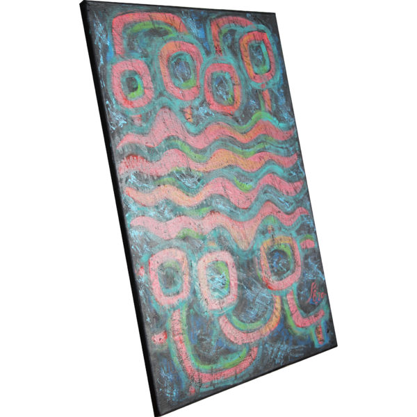 abstract linewand canvas turquoise pink black