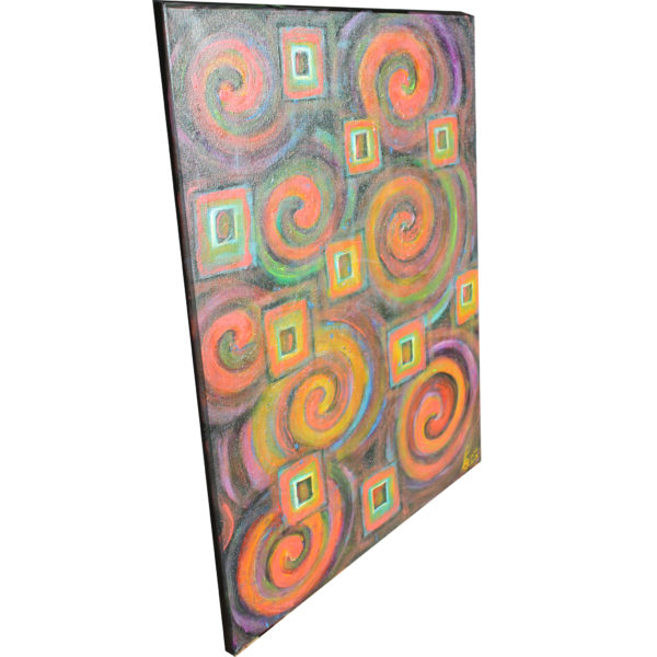 abstract linewand canvas orange pink yellow